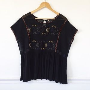 Free People Black Embroidered Swing Blouse